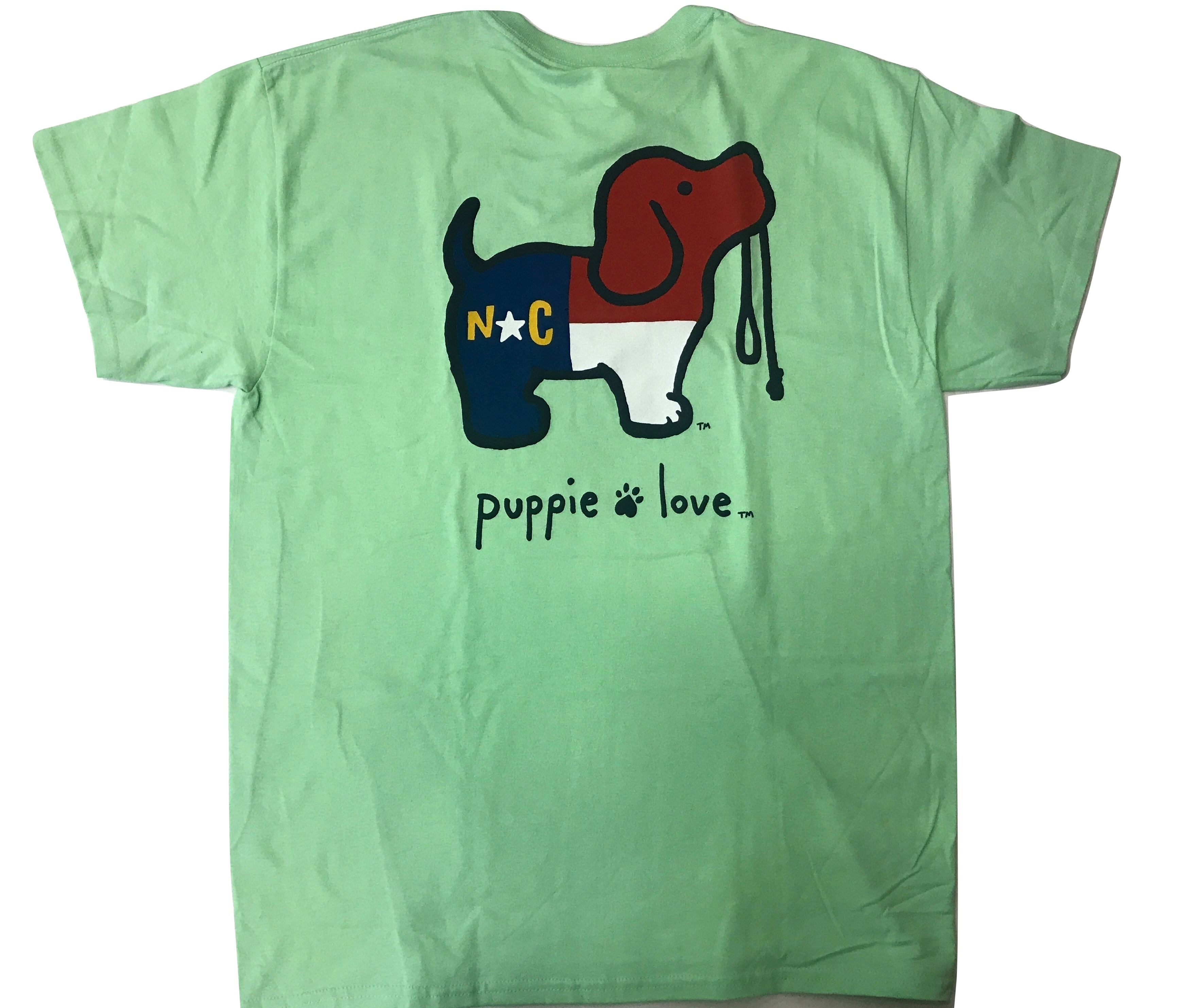 Puppy love north carolina pup t shirt green krazy mikez for Love notes brand shirt